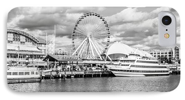 Panoramic Navy Pier Black And White Photo IPhone Case