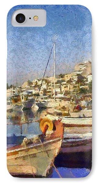 Panoramic Painting Of Mikrolimano Port Phone Case by George Atsametakis