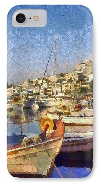 Panoramic Painting Of Mikrolimano Port IPhone Case