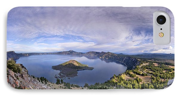 Panoramic View Of Crater Lake And Wizard Island IPhone Case by Sebastien Coursol