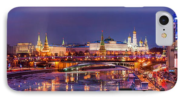 Panoramic View Of Moscow River And Moscow Kremlin  - Featured 3 IPhone Case