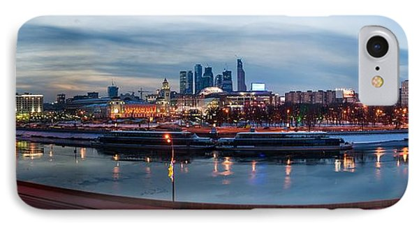 Panoramic View Of Moscow River - Kiev Railway Station And Square Of Europe - Featured 3 Phone Case by Alexander Senin