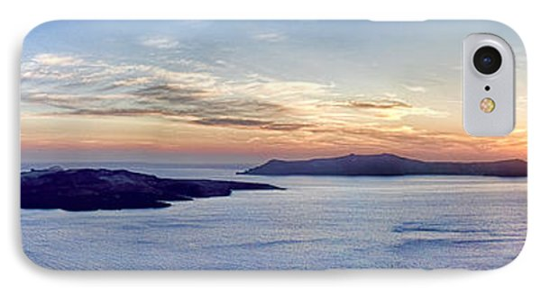 Panorama Santorini Caldera At Sunset IPhone Case by David Smith
