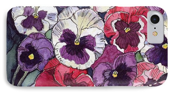 IPhone Case featuring the painting Pansies by Katherine Miller