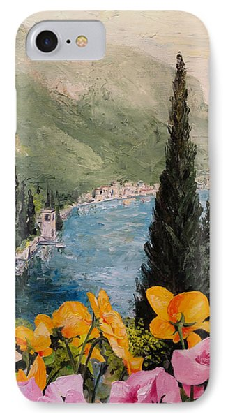 IPhone Case featuring the painting Pansies On Lake Como by Alan Lakin