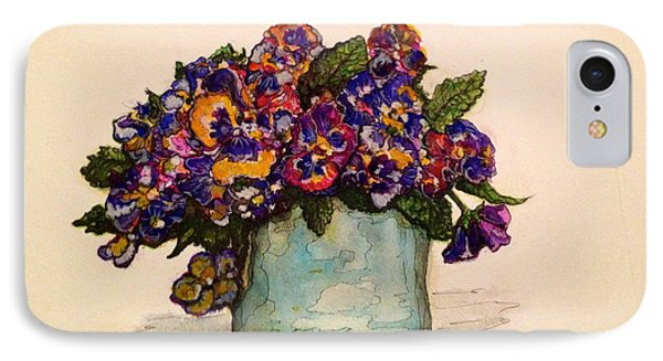 IPhone Case featuring the painting Pansies by Rae Chichilnitsky