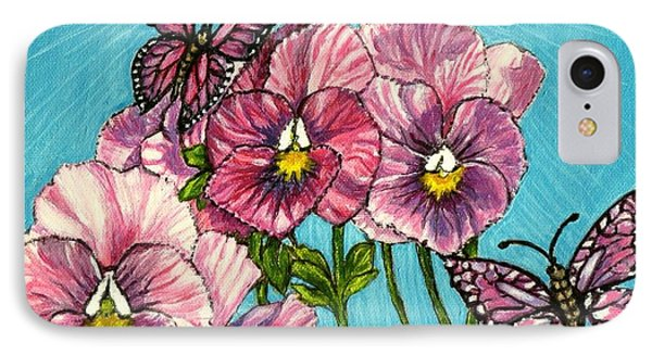 IPhone Case featuring the painting Pansy Pinwheels And The Magical Butterflies by Kimberlee Baxter