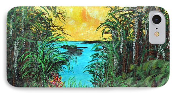 IPhone Case featuring the painting Panther Island In The Bayou by Alys Caviness-Gober
