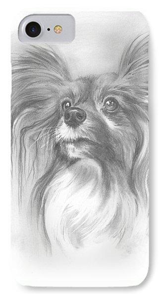 IPhone Case featuring the drawing Papillon by Paul Davenport