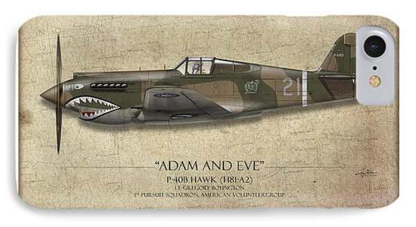 Pappy Boyington P-40 Warhawk - Map Background IPhone Case by Craig Tinder