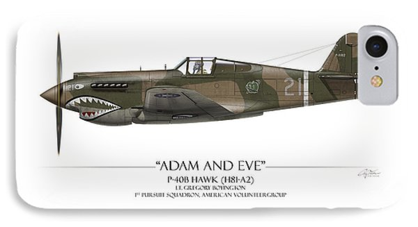 Pappy Boyington P-40 Warhawk - White Background IPhone Case by Craig Tinder