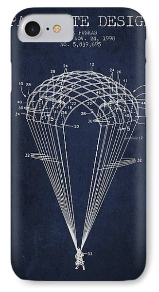Parachute Design Patent From 1998 - Navy Blue IPhone Case