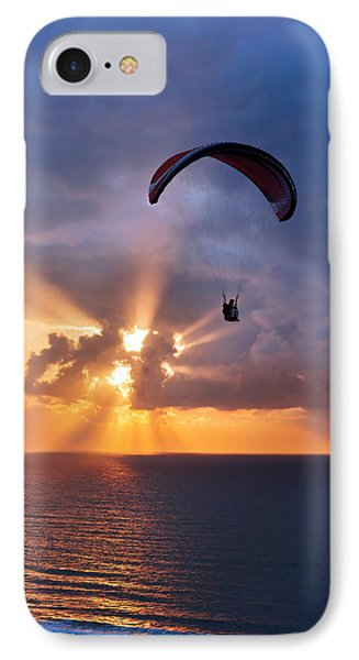 Paragliding At Sunset On Sea With Sun Beams IPhone Case by Mikel Martinez de Osaba
