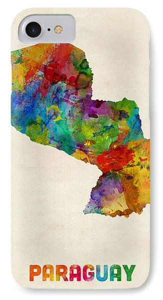 Paraguay Watercolor Map IPhone Case by Michael Tompsett