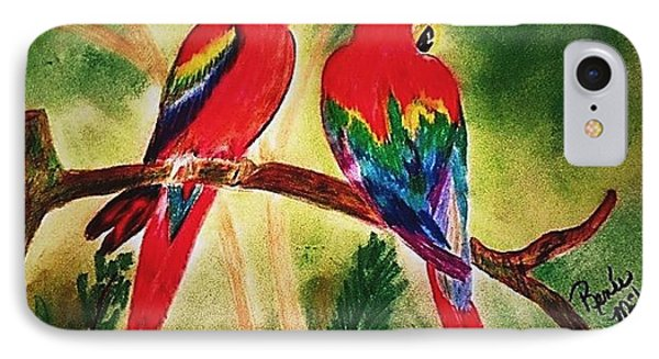 Parakeets In Paradise IPhone Case by Renee Michelle Wenker