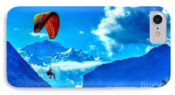 IPhone Case featuring the photograph Parasailing Swiss Alps by Joe  Ng