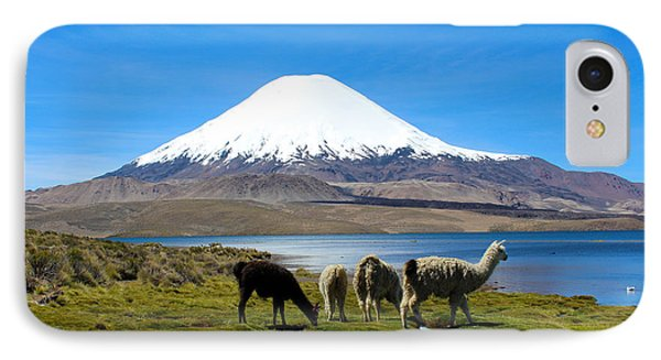 Parinacota Volcano Lake Chungara Chile IPhone Case by Kurt Van Wagner