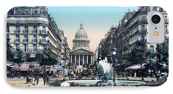 Paris 1910 Rue Soufflot And Pantheon IPhone Case by Ira Shander