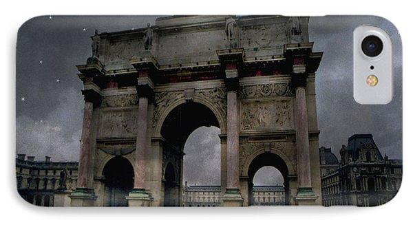 Paris Arc Du Carousel - Louvre Museum Arc De Triomphe - Starry Night Blue Paris Louvre Courtyard IPhone 7 Case by Kathy Fornal