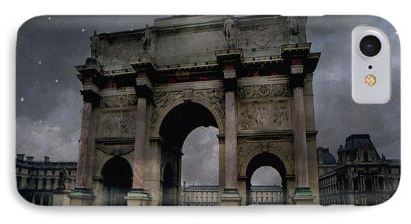 Paris Arc Du Carousel - Louvre Museum Arc De Triomphe - Starry Night Blue Paris Louvre Courtyard IPhone Case by Kathy Fornal