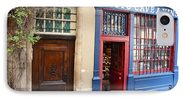 Paris Architecture Brown Door And Wine Shop - Paris Resto Cave A Vins Street Shoppe  IPhone Case