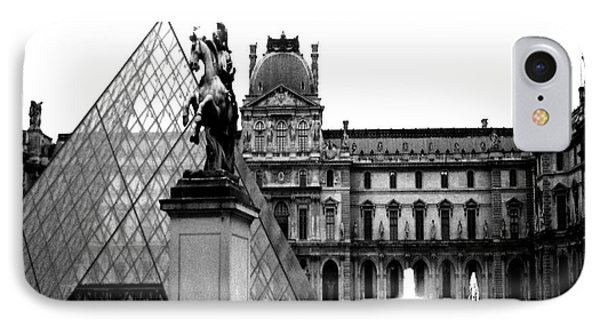 Paris Black And White Photography - Louvre Museum Pyramid Black White Architecture Landmark IPhone Case by Kathy Fornal