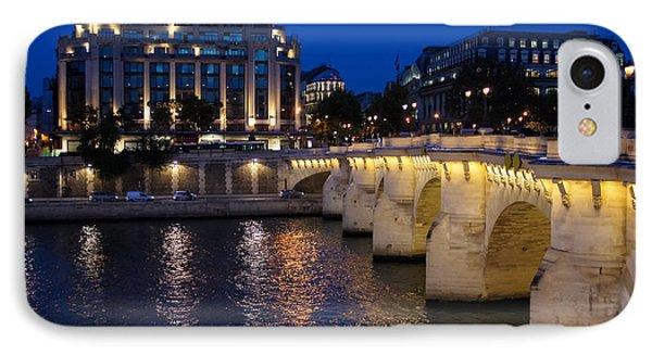 Paris Blue Hour - Pont Neuf Bridge And La Samaritaine Phone Case by Georgia Mizuleva