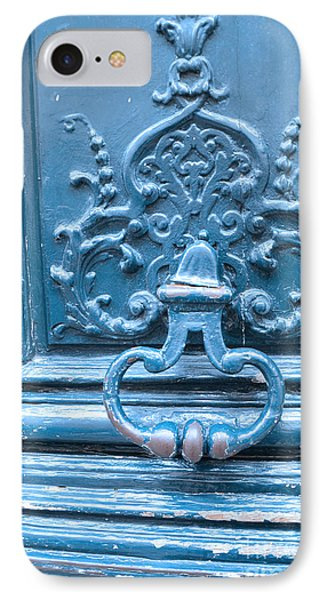 Paris Blue Vintage Door - Paris Antique Vintage Blue Door Knocker - Paris Door Architecture IPhone Case