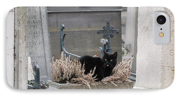 Paris Cemetery Cat - Le Chats Noir - Pere Lachaise - Black Cat On Grave Cemetery Art Phone Case by Kathy Fornal