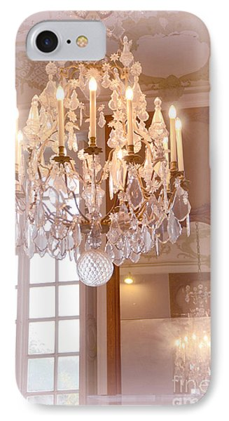 Paris Chandeliers - Dreamy Pastel Pink Rodin Museum Crystal Chandelier With Reflection In Mirror IPhone Case by Kathy Fornal