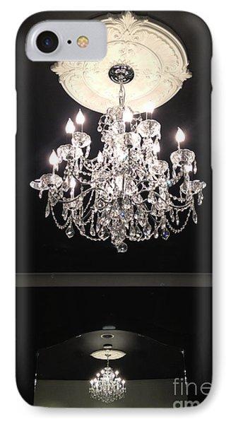 Paris Crystal Chandelier - Paris Black And White Chandelier - Sparkling Elegant Chandelier Opulence  IPhone Case by Kathy Fornal