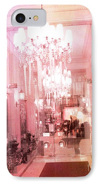 Paris Crystal Chandelier Posh Pink Sparkling Hotel Interior And Sparkling Chandelier Hotel Lights IPhone Case by Kathy Fornal