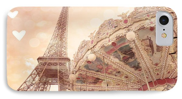 Paris Dreamy Eiffel Tower And Carousel With Hearts - Paris Sepia Eiffel Tower And Carousel Photo IPhone Case