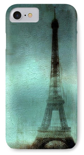 Paris Dreamy Eiffel Tower Teal Aqua Abstract Art Photo - Paris Eiffel Tower Painted Photograph IPhone Case by Kathy Fornal