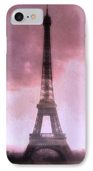 Paris Dreamy Pink Eiffel Tower Abstract Art - Romantic Eiffel Tower With Pink Clouds IPhone Case