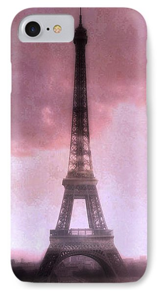 Paris Dreamy Pink Eiffel Tower Abstract Art - Romantic Eiffel Tower With Pink Clouds Phone Case by Kathy Fornal