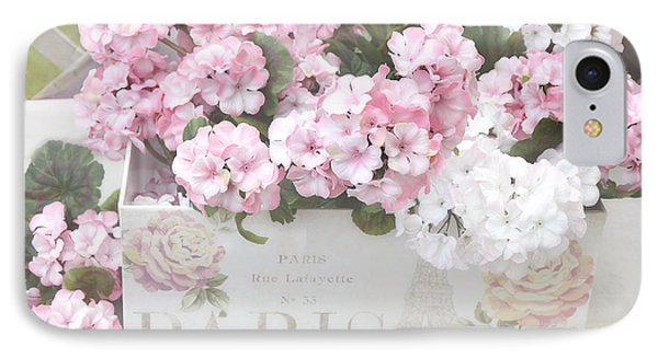 Paris Dreamy Romantic Cottage Chic Shabby Chic Paris Flower Box IPhone Case by Kathy Fornal