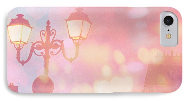 Paris Dreamy Surreal Night Street Lamps Lanterns Fantasy Bokeh Lights IPhone Case by Kathy Fornal