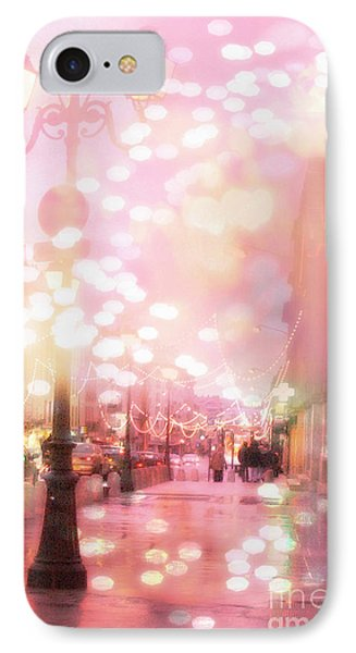 Paris Dreamy Holiday Street Lanterns Lamps - Paris Christmas Holiday Street Lanterns Lights Bokeh IPhone Case by Kathy Fornal