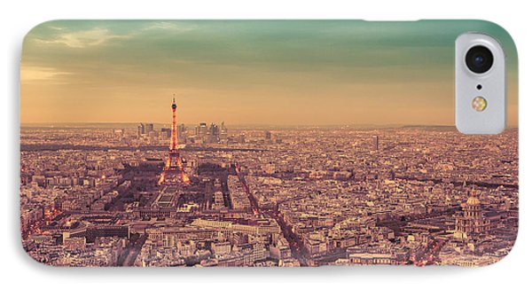 City Sunset iPhone 7 Case - Paris - Eiffel Tower And Cityscape At Sunset by Vivienne Gucwa