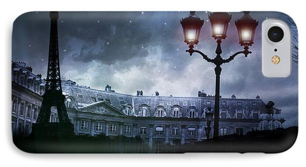 Paris Eiffel Tower Blue Starry Night Street Lamp Fantasy Photo Montage  IPhone Case by Kathy Fornal