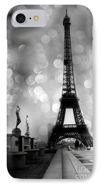 Paris iPhone 7 Case - Paris Eiffel Tower Surreal Black And White Photography - Eiffel Tower Bokeh Surreal Fantasy Night  by Kathy Fornal