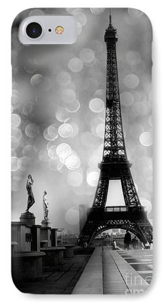 Paris Eiffel Tower Surreal Black And White Photography - Eiffel Tower Bokeh Surreal Fantasy Night  IPhone Case by Kathy Fornal