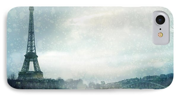 Paris Eiffel Tower Winter Snow - Paris In Winter - Paris Eiffel Tower Winter Fog Landscape IPhone Case by Kathy Fornal