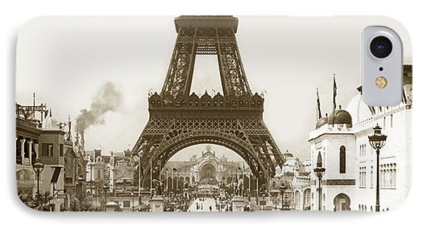 IPhone Case featuring the photograph Paris Exposition Eiffel Tower Paris France 1900  Historical Photos by California Views Mr Pat Hathaway Archives