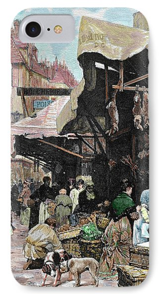 Paris, France Market Colored Engraving IPhone Case by Prisma Archivo
