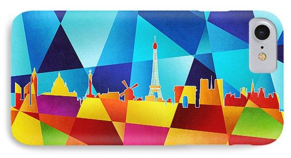 Paris France Skyline Phone Case by Michael Tompsett