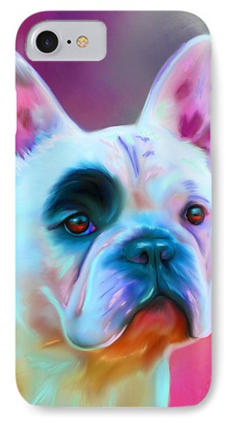 Vibrant French Bull Dog Portrait IPhone Case by Michelle Wrighton