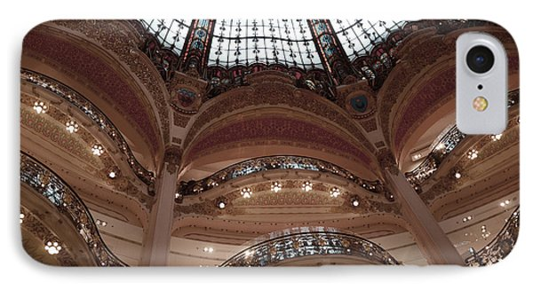 Paris Galeries Lafayette Stained Glass Ceiling Dome - Paris Architecture Glass Ceiling Dome Balcony IPhone Case by Kathy Fornal