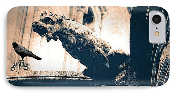 Paris Gargoyles - Gothic Paris Gargoyle With Raven - Sacre Coeur Cathedral - Montmartre Phone Case by Kathy Fornal